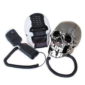 Novelty-Skull-Skeleton-Shaped-Corded-Home-Desk-Telephone-Phone-Eyes-Random-Color