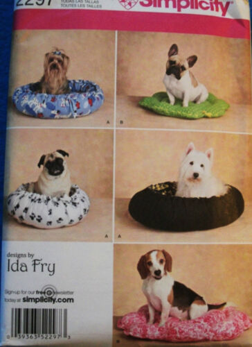DOG CAT PET SEWING PATTERN BEDS 2 STYLES EXTRA SMALL TO MEDIUM SIMPLICITY 2297