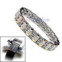 Accents Kingdom Mens 2 Tone Magnetic Therapy Titanium Golf Bracelet T16