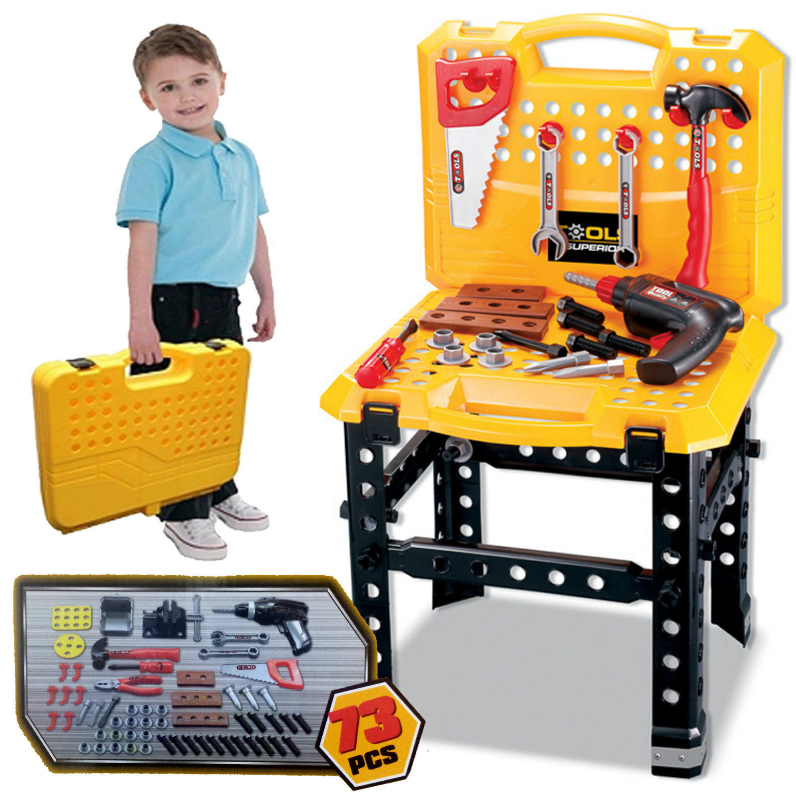 KIDS 73PC WORK BENCH PLAY SUPER TOOL DIY BUILDER CONSTRUCTION TOY DRILL KIT SET