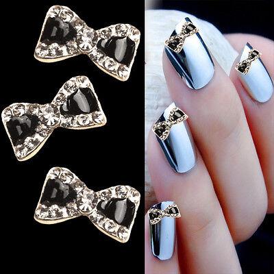 10pcs 3d Metal Nail Art Sticker Rhinestone Bow Tie Nail Art Glitters