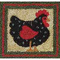 Black Hen Punch Needle Embroidery Kit