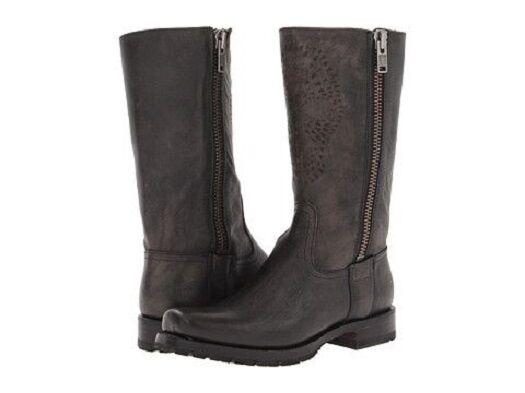 New in Box Frye Womens Heath Skull Outside Zip Black Calf Shine Vintage Boots 6