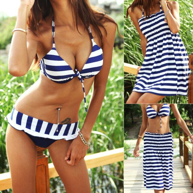 Ladies Swimwear Three Piece Swimdress Bikini Set Zebra Aus Size 8 10 12 14 66011