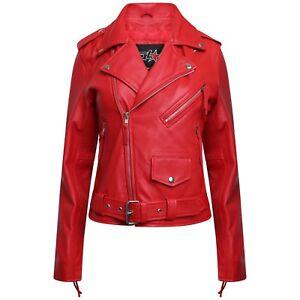 Womens Lambskin Vintage Classic Biker Style Brando Real Leather Fashion Jacket