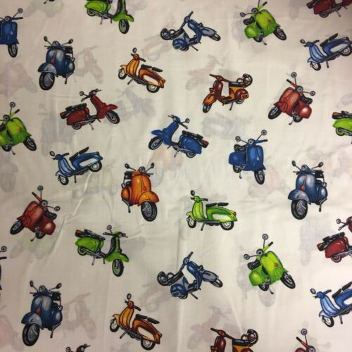 SCOOTER MOPED 100/% Cotton Fabric Material BY The METRE W150cm