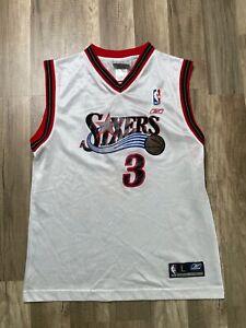 Auth-Vtg-Reebok-NBA-Philadelphia-76ers-Sixers-3-Allen-Iverson-Jersey-Sz-Yth-L