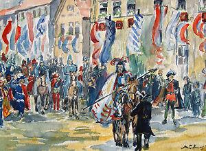Unleserlich-signiert-Mischtechnik-1942-franzoesische-Reitertruppe-in-Stadt
