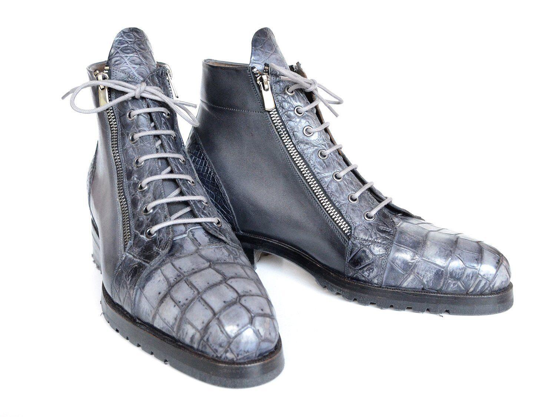 Paul Parkman gris Cocodrilo Genuinos & botas con cremallera lateral de becerro (IDGRY72)