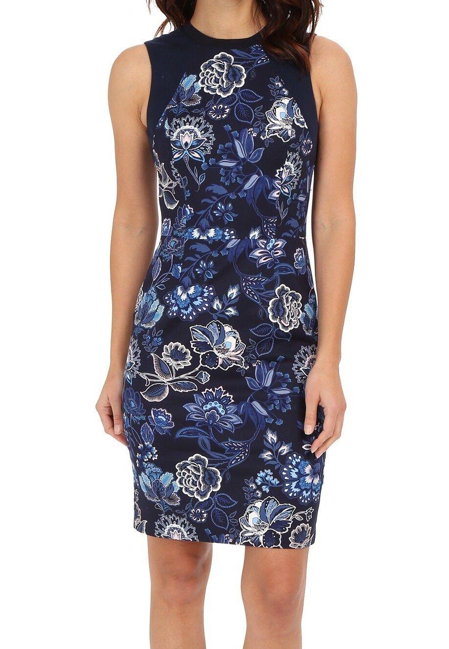 NWT MSRP  - ADRIANNA PAPELL Woherren Floral Sheath Dress, Navy Multi, Größe 10