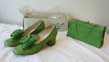 Vintage Women's Party Shoes & Matching Clutch Purse Box Flings Heels Bows Retro