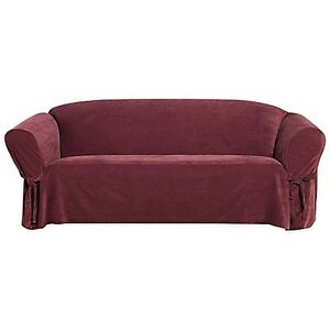 Details about Sure Fit Sofa Slipcover Everyday Chenille Red / Garnet Box  Style Seat Cushion