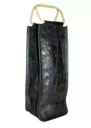NEW PARK B.SMITH SINGLE BOTTLE BLACK BAG//CARRY CASE PATCHWORK LEATHER WINE TOTE
