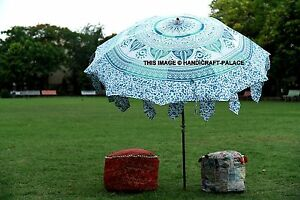 Image Is Loading Indian Garden Parasol Green Ombre Mandala Outdoor Sun