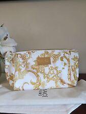 Versace Parfums Cosmetic Bag Pouch Gold Signature Makeup Organize Case Purse