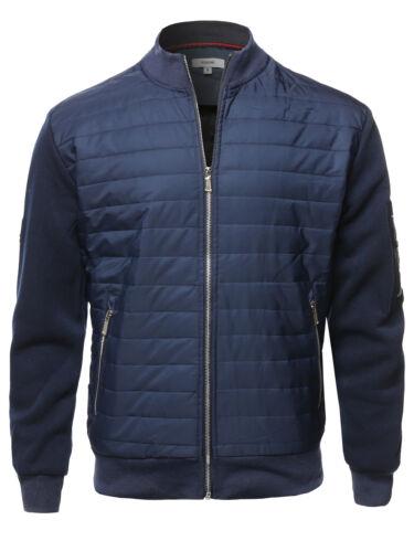 FashionOutfit Men/'s Casual Zipper Closure Long Sleeve Light-Padded Bomber Jacket
