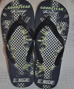 z- SHOES MENS SZ 7-8 FLIP FLOP BLUE RUBBER GOOD YEAR LOGO GENTLY USED