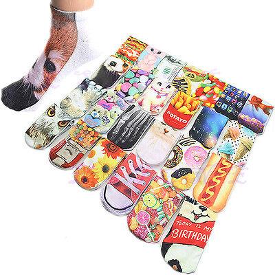 Unisex Fashion Harajuku Style 3D Printed Multiple Pattern Low Cut Ankle Socks