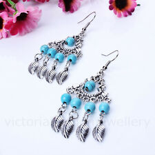 TURQUOISE DREAMCATCHER EARRINGS in Antique Silver Tone, Bead Feather Boho Chic