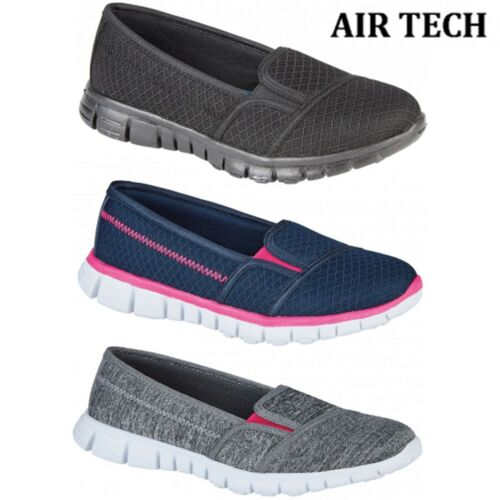 Pulse Womens Lightweight Slip On Walking Breathable Comfy Shoes Trainers