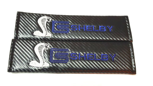 2X NEW Shelby Mustang Carbon Fiber Seat Belt Cover Shoulder Pad Cushion For Ford