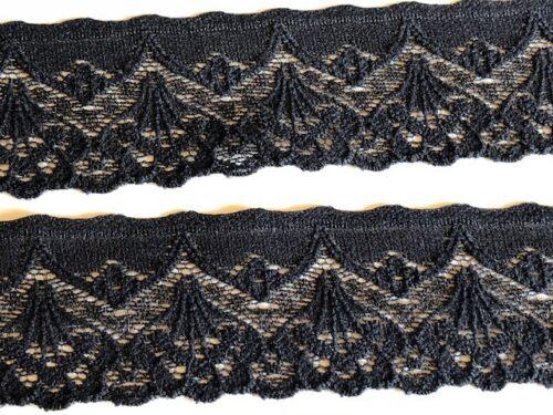 """laverslace Pretty Black Vintage Cotton Stretch Lace Trim 1.25/""""//3cm Crafts Goth"""