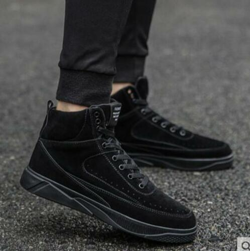 Mens Solid Color High Top Lace Up Comfort Casual Fashion Style Skate Shoes B196