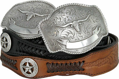 TEXAS LONGHORN WESTERN EMBOSSED GENUINE LEATHER COWBOY COWGIRL CONCHO BELT