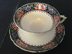 BONE-CHINA-CUP-amp-SAUCER-BY-TUSCAN-7830-FLOWERS-BAND-PINK-BLUE-GREEN-GOLD-TRIM
