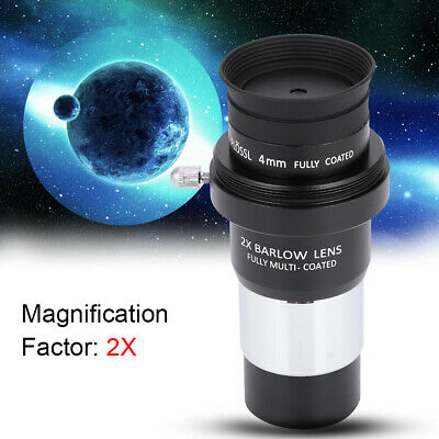 1.25 Plossl Telescope Eyepiece Set 4//10//25mm 2X Barlow Lens Kit for Astronomy Plossl Eyepiece Kit