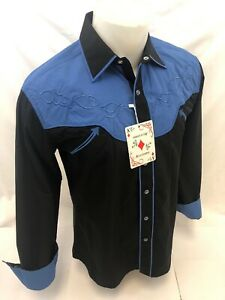 Hombres-Rodeo-Occidental-pais-Negro-de-Mangas-Largas-Camisa-de-SNAP-de-tejido-vaquero-06675-Nuevo