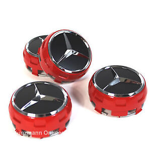 New-MERCEDES-WHEEL-HUB-AMG-ALLOY-CENTRE-CAPS-RED-BLACK-75MM-A-B-C-E-S-ML-CLASS