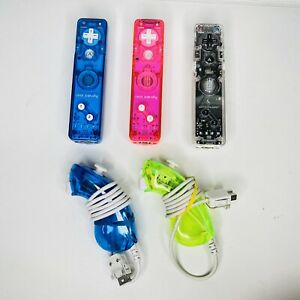 Nintendo Wii Remote Rock Candy Afterglow 3 Controller 2 Nunchuck Lot of 5