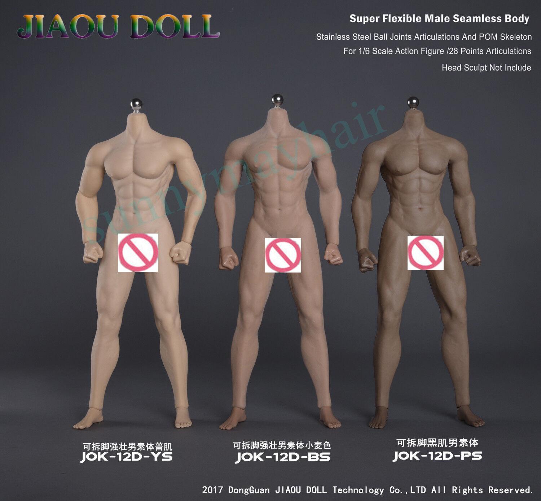 Jiaou Muñeca 1 6 macho sin costuras muscular Bronceado Negro Bronceado Piel Cuerpo Pie Desmontable
