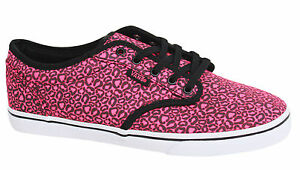 Details zu Vans Atwood Lo Pink Black Lace Up Womens Canvas Trainers Plimsolls NJO7II B85B