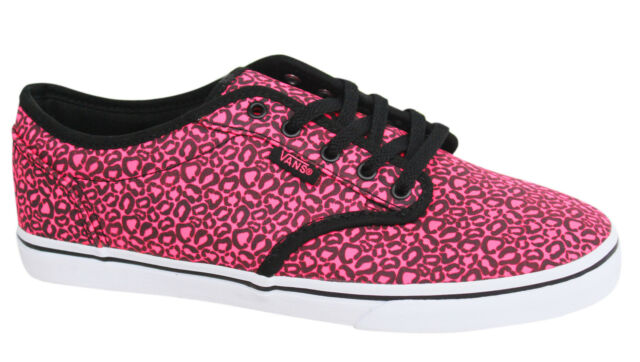 Vans Atwood Lo Pink Black Lace Up Womens Canvas Trainers Plimsolls NJO7II  Vans E 054d79ead909