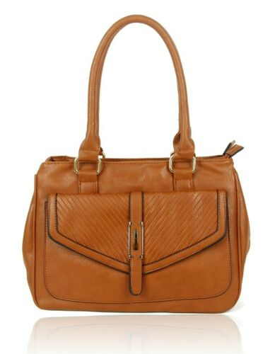 Women/'s Large Multi-Pocket Plain Faux Leather Handbag Shoulder Tote Shopper Bag