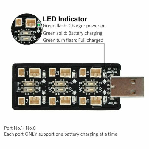 1S LiPo USB Battery Charger 3.7V//4.20V 6 Channel FPV Blade Inductrix Tiny Whoop