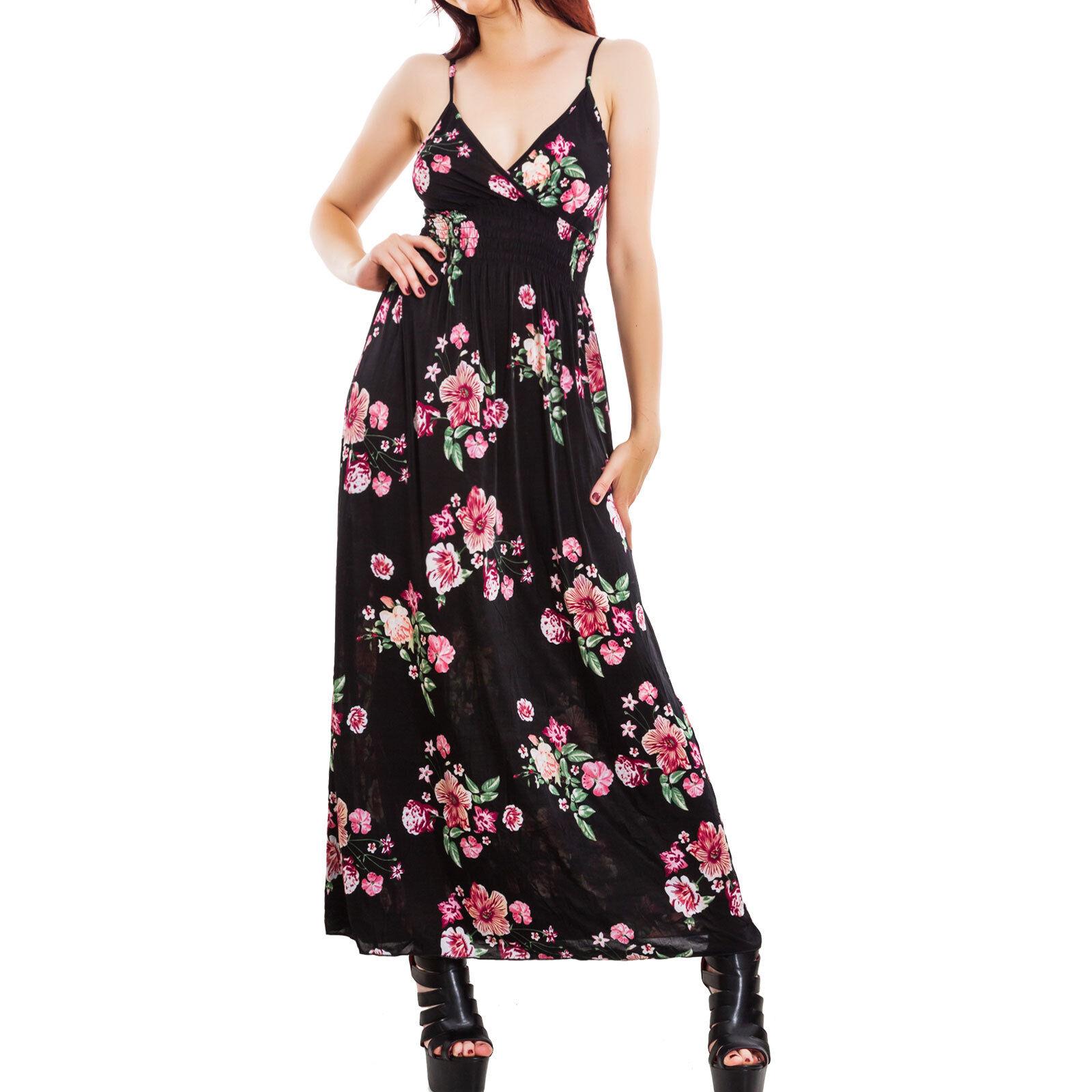 ... Robe femme longue robe maxi motif V à fleurs cou en V motif floral  élégant sexy ... 52d6376816e
