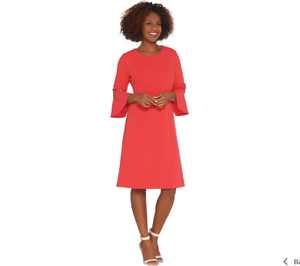 Dennis Basso Basso Basso Luxe Crepe Dress with Trimmed Flounce Sleeves color Coral Size 6 14b890