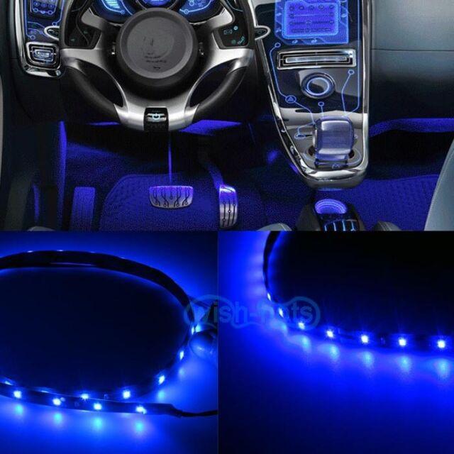 "2pcs LED BLUE 12"" INTERIOR STRIP FOOTWELL LIGHTS UNDER DASH BULB SMD EXTERIOR W"