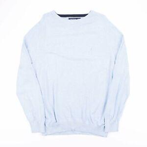 Vintage Nautica Blau Strick Rundhals Pulli Pullover Herren Größe Large