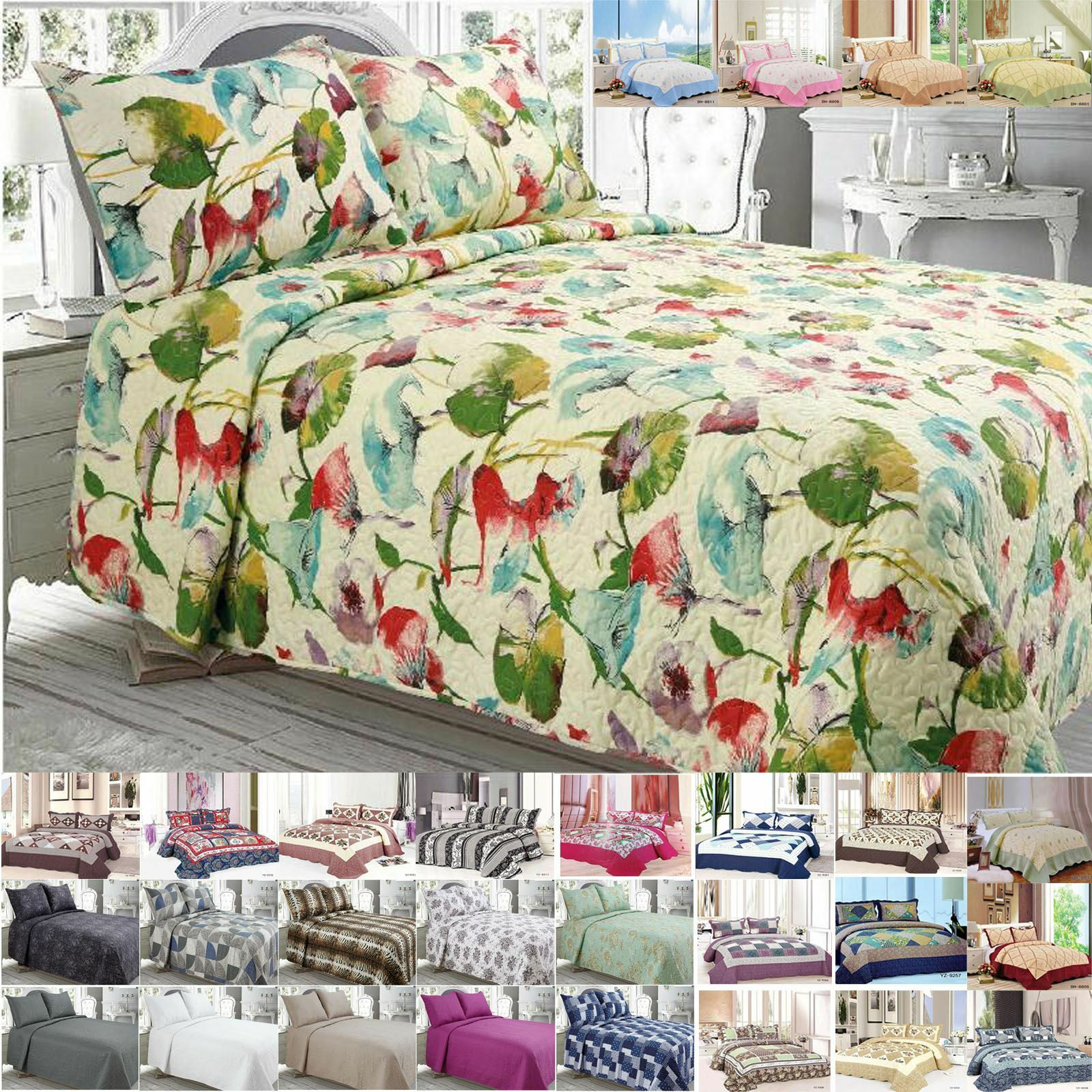NEW BEDSPREAD PILLOW COVER FLORAL THROW JACQUARD QUILTED PATCHWORK SET HONEYCOMB
