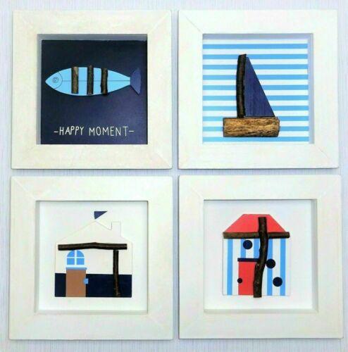 Holzbild Wandbild 3D Bild Holz Maritim Boot Haus modern blau weiß Vintage 23 cm