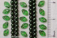 100 Presiosa Ornella Czech Glass Green Gold Embossed Pearls Drop Leaf Mix Beads