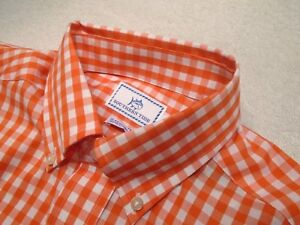 Southern-Tide-Stretch-Cotton-Orange-Gingham-Skipjack-Shirt-NWT-Small-99-50