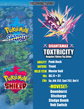 Pokemon Sword and Shield Ultra Shiny Gigantamax Toxtricity 6IV + Free Pokemon!