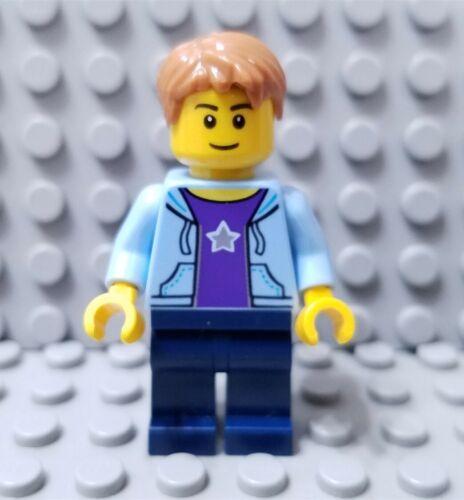 LEGO New City Creator Male Minifigure Hoodie and Star Torso Dark Blue Legs