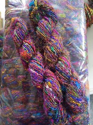 weaving Sari silk yarn black handspun yarn 100g crochet yarn knitting yarn