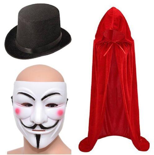 mantello /& Cappello Halloween Set V PER VENDETTA Maschera GUY FAWKES ANONIMO Maschera